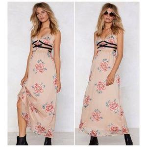Nasty Gal Apricot Pink Floral Maxi Dress